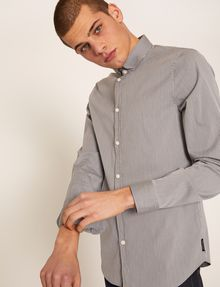 ARMANI EXCHANGE SLIM-FIT STRETCH BAND COLLAR SHIRT Striped Shirt [*** pickupInStoreShippingNotGuaranteed_info ***] a