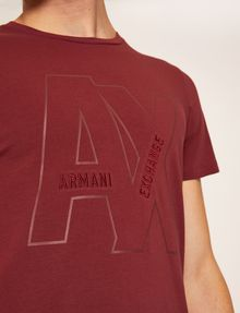 ARMANI EXCHANGE SLIM-FIT EMBROIDERED OVERLAP CREW Logo T-shirt Man b