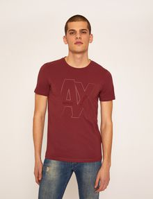 ARMANI EXCHANGE SLIM-FIT EMBROIDERED OVERLAP CREW Logo T-shirt Man f