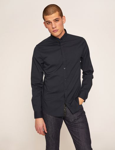 SLIM-FIT STRETCH BAND COLLAR SHIRT