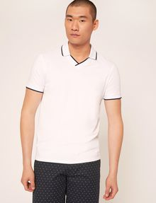 ARMANI EXCHANGE TIPPED JOHNNY COLLAR POLO SHORT SLEEVES POLO [*** pickupInStoreShippingNotGuaranteed_info ***] f