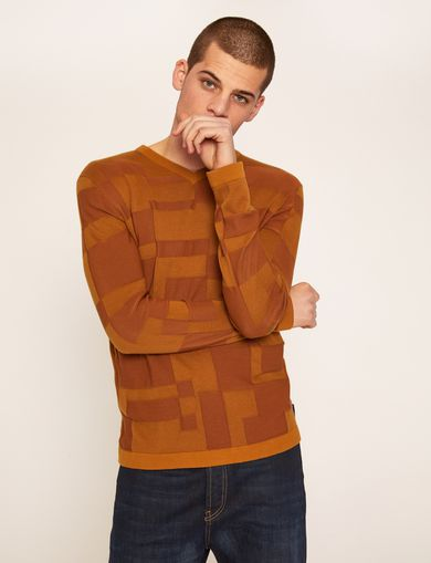 V-NECK PATCHED INTARSIA SWEATER