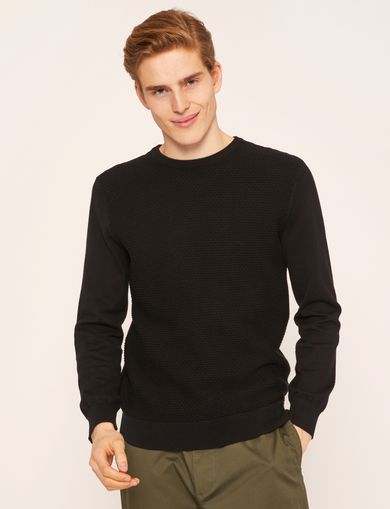 HONEYCOMB KNIT CREWNECK SWEATER