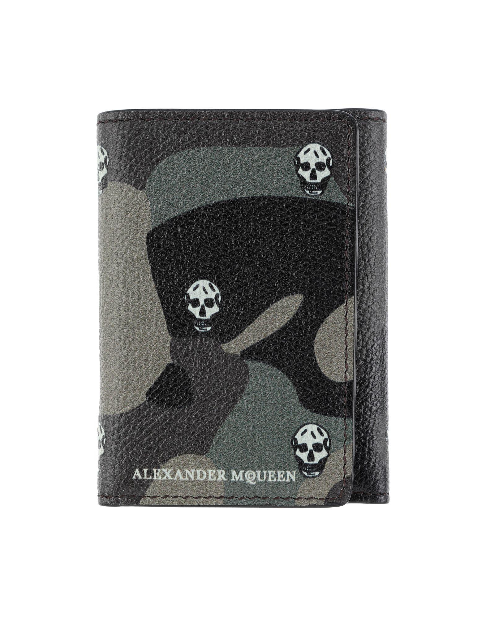 《送料無料》ALEXANDER MCQUEEN メンズ 財布 ミリタリーグリーン 革