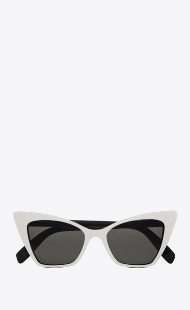 SAINT LAURENT NEW WAVE Woman new wave 244 victoire sunglasses in ivory and black acetate with smoked lenses a_V4