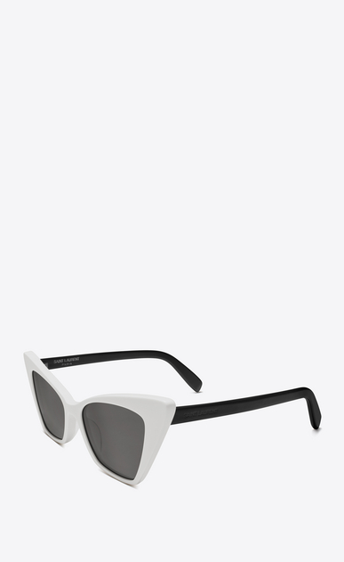 SAINT LAURENT NEW WAVE Woman new wave 244 victoire sunglasses in ivory and black acetate with smoked lenses b_V4
