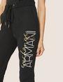 ARMANI EXCHANGE METALLIC SCRIPT LOGO JOGGER Fleece Trouser Woman b
