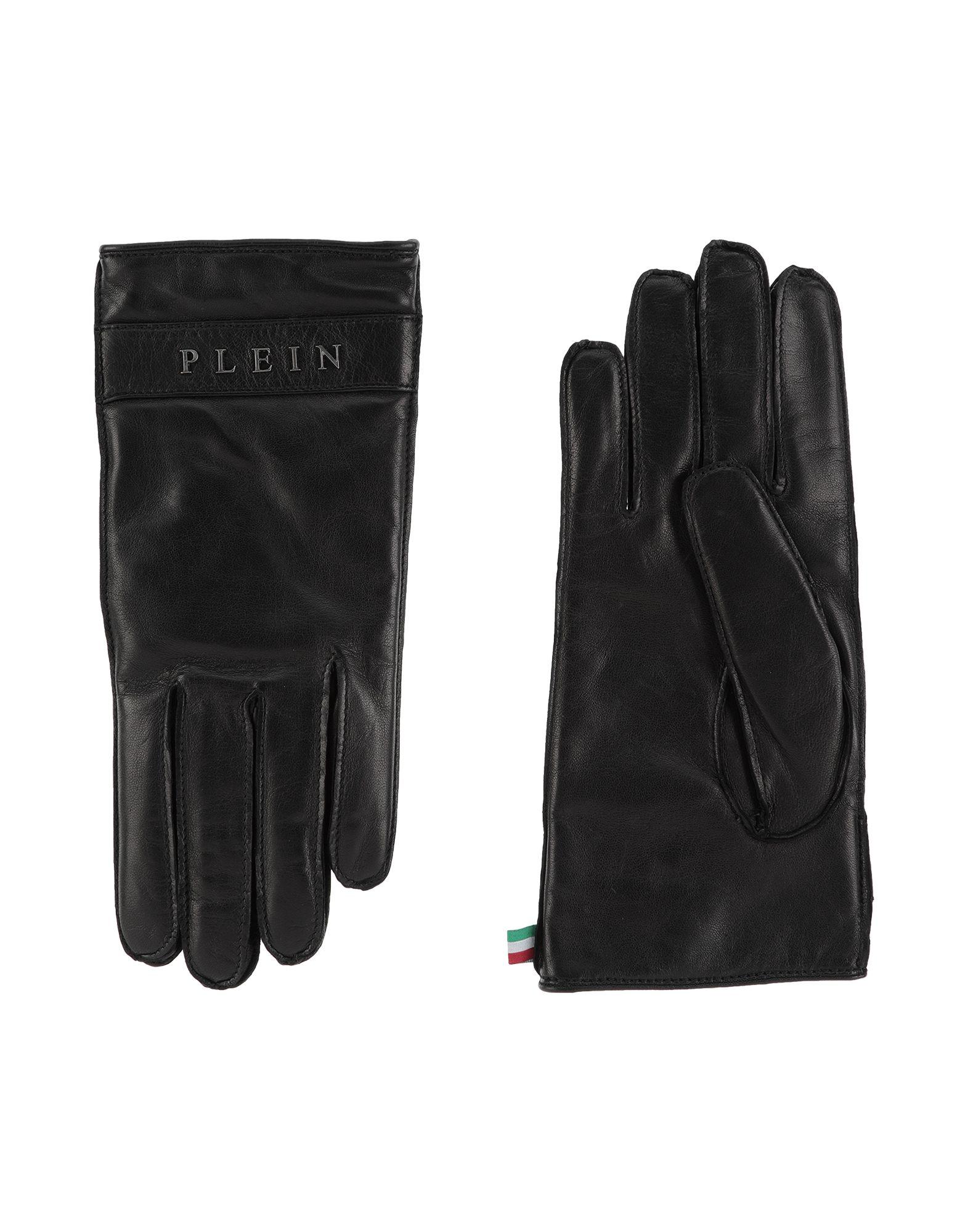 《送料無料》PHILIPP PLEIN メンズ 手袋 ブラック 8 革