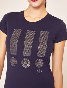 ARMANI EXCHANGE STUDDED EXCLAMATION CREW Graphic T-shirt [*** pickupInStoreShipping_info ***] b