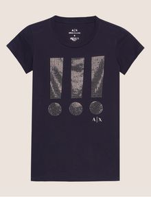 ARMANI EXCHANGE STUDDED EXCLAMATION CREW Graphic T-shirt [*** pickupInStoreShipping_info ***] r