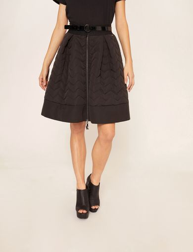 ZIGZAG QUILTED ZIP-FRONT SKIRT
