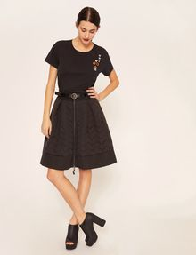 ARMANI EXCHANGE ZIGZAG QUILTED ZIP-FRONT SKIRT Midi Skirt Woman d