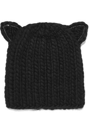 EUGENIA KIM Felix crystal-embellished cable-knit wool beanie