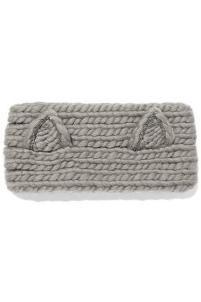 EUGENIA KIM Kat crystal-embellished cable-knit wool headband