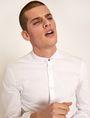 ARMANI EXCHANGE SLIM-FIT JERSEY BAND COLLAR SHIRT Plain Shirt [*** pickupInStoreShippingNotGuaranteed_info ***] a