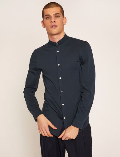 SLIM-FIT JERSEY BAND COLLAR SHIRT