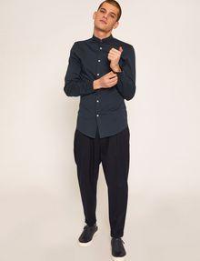 ARMANI EXCHANGE SLIM-FIT JERSEY BAND COLLAR SHIRT Plain Shirt [*** pickupInStoreShippingNotGuaranteed_info ***] d