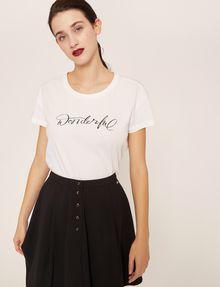 ARMANI EXCHANGE CUTOUT ADJECTIVE CREW Graphic T-shirt Woman f