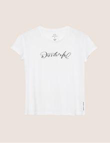 ARMANI EXCHANGE CUTOUT ADJECTIVE CREW Graphic T-shirt Woman r