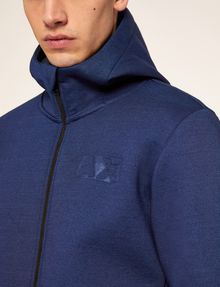 ARMANI EXCHANGE DEBOSSED LOGO BONDED ZIP-UP HOODIE Fleece Jacket Man b