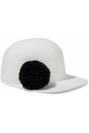 EUGENIA KIM Bo pompom-embellished wool-felt baseball cap