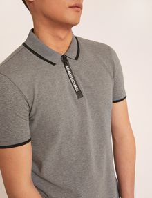 ARMANI EXCHANGE LOGO TAPE QUARTER-ZIP POLO SHORT SLEEVES POLO Man b