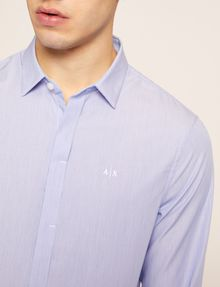 ARMANI EXCHANGE SLIM-FIT MICRO-STRIPE LOGO SHIRT Striped Shirt [*** pickupInStoreShippingNotGuaranteed_info ***] b