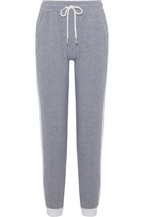 MONROW Cropped mélange terry track pants