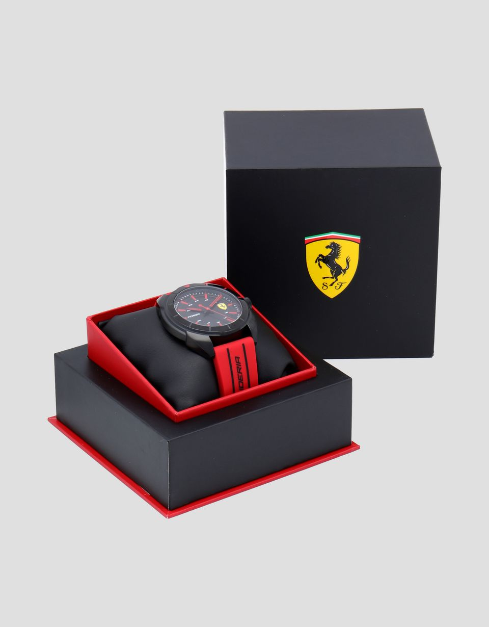 Scuderia Ferrari Online Store - Forza watch in black with red strap - Quartz Watches