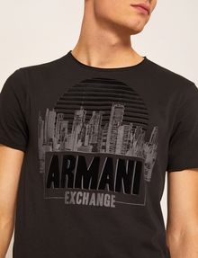 ARMANI EXCHANGE REGULAR-FIT CITYSCAPE SUNSET CREW Logo T-shirt [*** pickupInStoreShippingNotGuaranteed_info ***] b