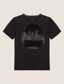 ARMANI EXCHANGE REGULAR-FIT CITYSCAPE SUNSET CREW Logo T-shirt [*** pickupInStoreShippingNotGuaranteed_info ***] r