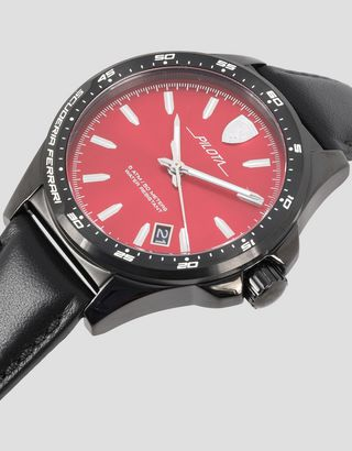 Scuderia Ferrari Online Store - Pilota watch in black with red dial - Quartz Watches