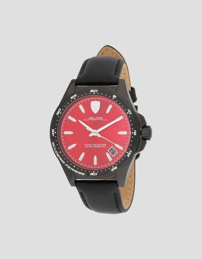 Pilota watch in black with red dial