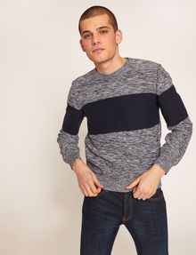 ARMANI EXCHANGE COLORBLOCKED MARLED YARN SWEATER Crew Neck [*** pickupInStoreShippingNotGuaranteed_info ***] f