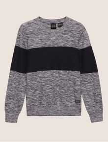 ARMANI EXCHANGE COLORBLOCKED MARLED YARN SWEATER Crew Neck [*** pickupInStoreShippingNotGuaranteed_info ***] r