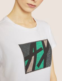 ARMANI EXCHANGE STUDDED MARQUEE LOGO CREW Logo T-shirt [*** pickupInStoreShipping_info ***] b