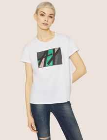 ARMANI EXCHANGE STUDDED MARQUEE LOGO CREW Logo T-shirt [*** pickupInStoreShipping_info ***] f