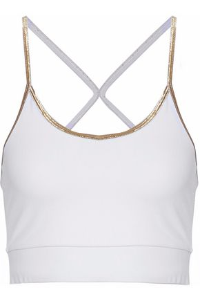 ANA HEART Monroe metallic-trimmed stretch sports bra