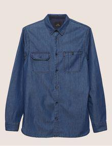 ARMANI EXCHANGE REGULAR-FIT DARK DENIM WORK SHIRT Denim Shirt [*** pickupInStoreShippingNotGuaranteed_info ***] r