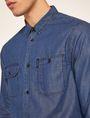 ARMANI EXCHANGE REGULAR-FIT DARK DENIM WORK SHIRT Denim Shirt [*** pickupInStoreShippingNotGuaranteed_info ***] b