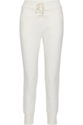 ANA HEART Marley lace-up French stretch-cotton terry track pants