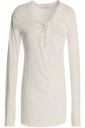 ANA HEART Lace-up Supima cotton-jersey top