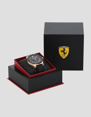 Scuderia Ferrari Online Store - Pilota watch in rose gold tone with black dial - Quartz Watches