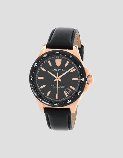 Pilota watch in rose gold tone with black dial