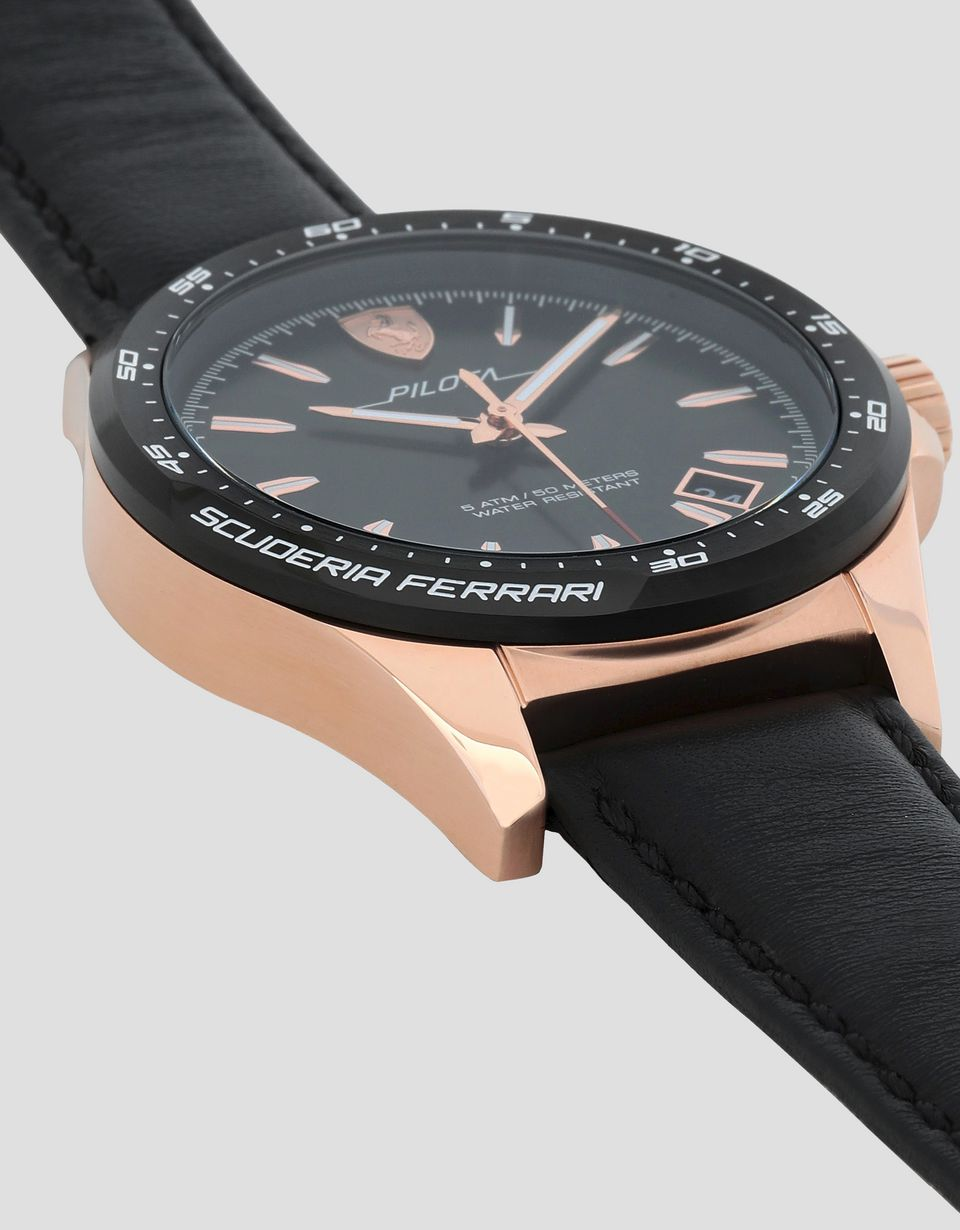 Scuderia Ferrari Online Store - Pilota watch in rose gold tone with black dial -