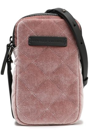 BRUNELLO CUCINELLI Leather-trimmed quilted velvet phone case