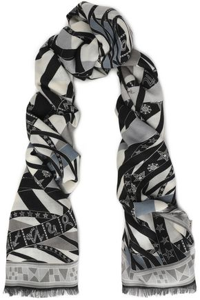 EMILIO PUCCI Frayed printed cashmere and silk-blend scarf