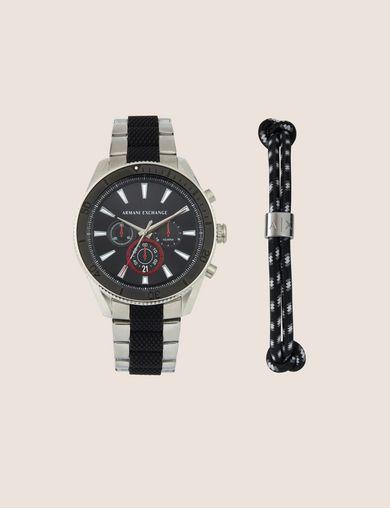 Gift set con cronografo in acciaio e bracciale in corda