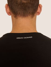 ARMANI EXCHANGE LOOSE-FIT OVERSIZED LINE LOGO CREW Graphic T-shirt Man b