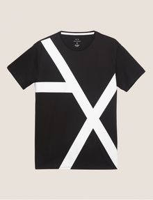 ARMANI EXCHANGE LOOSE-FIT OVERSIZED LINE LOGO CREW Graphic T-shirt Man r